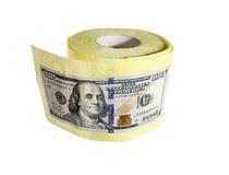 Cientos billetes de dólar en un rollo del papel higiénico Imagen de archivo libre de regalías