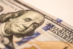 Cientos billetes de dólar, fotografía macra Foto de archivo