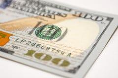 Cientos billetes de dólar, fotografía macra Fotos de archivo libres de regalías