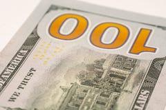 Cientos billetes de dólar, fotografía macra Foto de archivo libre de regalías