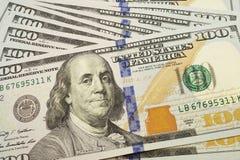 Cientos billetes de dólar para el fondo Foto de archivo libre de regalías