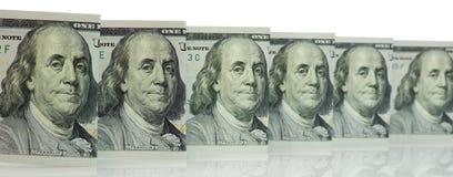 Cientos billetes de dólar para el fondo Fotos de archivo