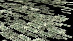 Cientos billetes de dólar que vuelan de lado Imagen de archivo libre de regalías