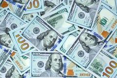 Cientos billetes de dólar Foto de archivo libre de regalías