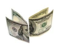 Cientos billetes de dólar nuevos y viejo diseño Imágenes de archivo libres de regalías