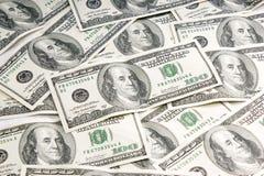 Cientos cuentas de dólar Imagen de archivo libre de regalías