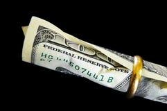 Cientos cuentas de dólar Imágenes de archivo libres de regalías