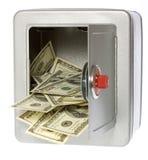 Cientos cuentas de dólar en caja fuerte abierta fotografía de archivo libre de regalías