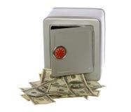 Cientos cuentas de dólar en caja fuerte abierta imagen de archivo libre de regalías