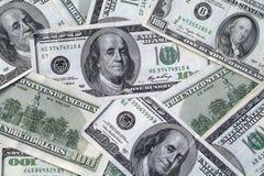 Cientos cuentas de dólar Fotografía de archivo