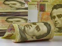 Cientos cuentas del hryvnia Dinero ucraniano Imagen de archivo