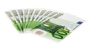 Cientos cuentas euro Foto de archivo libre de regalías