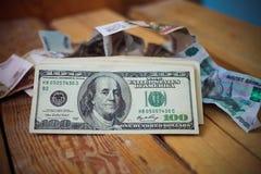 Cientos dólares Foto de archivo