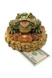 Cientos dólares bajo una rana de la tres-pista Fotografía de archivo libre de regalías