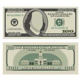 Cientos dólares Bill 100 dólares dorso de billete de banco, delantero y stock de ilustración