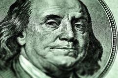 Cientos dólares Bill Franklin Closeup Fotos de archivo