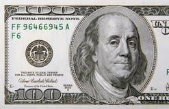 Cientos dólares Bill medio Fotos de archivo libres de regalías