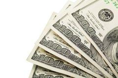 Cientos dólares de billetes de banco aislados en blanco Imagenes de archivo