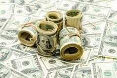 Cientos dólares de E Imagen de archivo libre de regalías