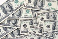 Cientos dólares de fondo de las notas Fotografía de archivo