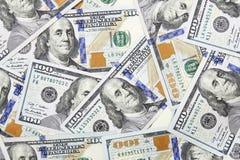 Cientos dólares de fondo de los billetes de banco Imagen de archivo libre de regalías