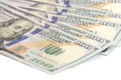 Cientos dólares de fondo de los billetes de banco Imagen de archivo