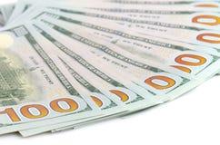 Cientos dólares de fondo de los billetes de banco Imagenes de archivo