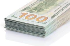 Cientos dólares de fondo de los billetes de banco Fotografía de archivo