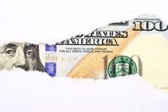 Cientos dólares de la cuenta de macro del fragmento Foto de archivo