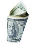 Cientos dólares de torcedura Foto de archivo libre de regalías