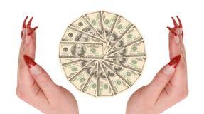 Cientos dólares en manos Imágenes de archivo libres de regalías