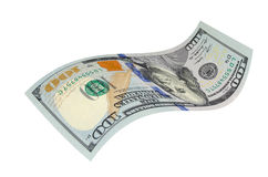 Cientos dólares en un fondo blanco Imagen de archivo