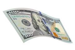 Cientos dólares en un fondo blanco Imagenes de archivo