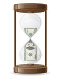 Cientos dólares que se escapan en el vecto del reloj de arena Imágenes de archivo libres de regalías