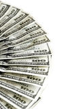 Cientos dineros americanos del efectivo de los billetes de dólar Foto de archivo