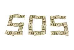 Cientos dólares SOS Imagen de archivo