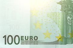 Cientos euros con una nota euro 100 Fotografía de archivo libre de regalías