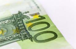Cientos euros Macro foto de archivo