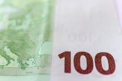 Cientos euros Macro foto de archivo libre de regalías