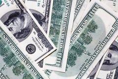 Cientos fondos de los billetes de banco del dólar Fotografía de archivo