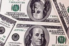 Cientos fondos de los billetes de banco del dólar Imagen de archivo libre de regalías