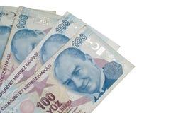 Cientos liras turcas de billetes de banco Fotografía de archivo