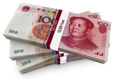 Cientos manojos de Yuan Imágenes de archivo libres de regalías