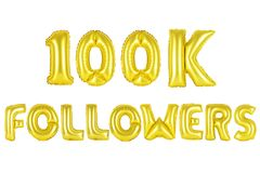 Cientos mil seguidores, color oro Imágenes de archivo libres de regalías