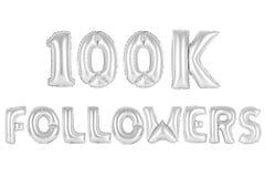 Cientos mil seguidores, croman color gris Foto de archivo