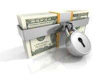 Cientos paquetes de 100 dólares cerrados por el candado de la seguridad Imágenes de archivo libres de regalías
