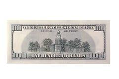 Cientos partes posteriores de Bill de dólar Imágenes de archivo libres de regalías