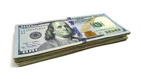 Cientos pilas del dólar de cuentas Imagen de la foto Foto de archivo libre de regalías