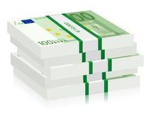 Cientos pilas euro Imagen de archivo libre de regalías