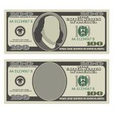 Cientos plantillas del diseño del billete de dólar 100 dólares de billete de banco, parte delantera con y sin presidente Foto de archivo